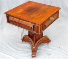 A superb William IV rosewood work table on a decorative centre pedestal