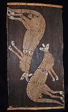 A Bark Painting, Artist Unknown (Two Kangaroos),