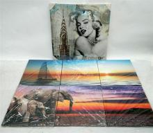 A triptych of a yacht on the ocean, triptych of two elephants and a canvas print of Marilyn Monroe (3)