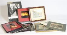 Four framed street photography prints and five framed watercolours