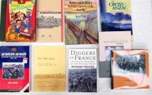 Ten books pertaining to Diggers in France, The Boer War and the Cross of ANZAC
