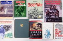 Nine books pertaining to The Great War in Africa, Australia's Boer War and Latin America's War