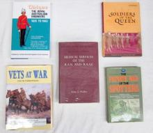 Five books pertaining to Vets at War, Soldiers of the Queen and Medical Services of the R.A.N. and R.A.A.F.