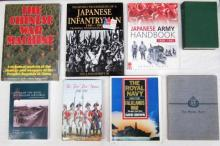 Eight books pertaining to The Chinese War Machine, Fighting Techniques of a Japanese Infantryman and The Royal Navy