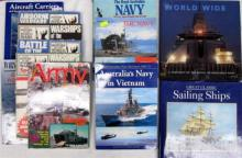 Twelve books pertaining to Aircraft Carriers, Sailing Ships, The Royal Australian Navy and The Royal Netherlands Navy