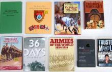 Nine books pertaining to Military Marching, Armies of the World 1854-1914, The Chaco War and others