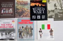Seven books pertaining to World War One and Modern Fighting Men