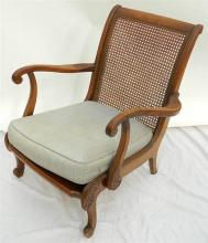 Rattan back armchair