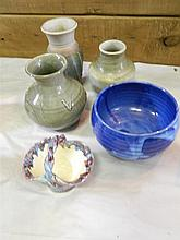 Five pieces of assorted pottery, vases, bowls etc