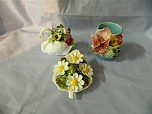 A Royal Adderly ceramic floral posy and two others