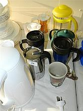 A quantity of tea and coffee making equipment