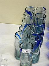 A set of eleven hand made glass highballs