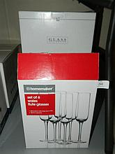 Four boxes of assorted glassware