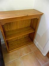 A pine two tier bookcase