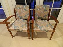 A pair of fabric upholstered bridge chairs