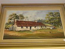 James Holmyard The Farmhouse oil on board signed lower right
