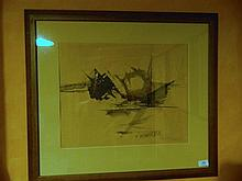 Abstract ink on paper by Gleghorn signed LR dated 11 59