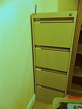 A steel four drawer filing cabinet
