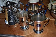 An EP coffee pot and three tankards