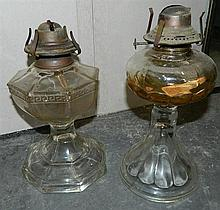 Two glass kerosene lamp bases