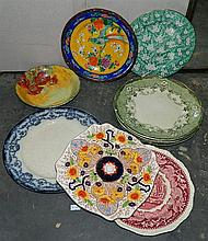 Ten assorted china plates including Doulton, Staffordshire, etc