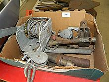 A boat trailer winch and quantity of pullies etc