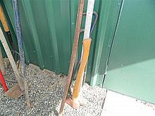 A quantity of pinch bars, crow bars, sledgehammers, axes etc