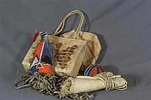 A Box of Assorted Woven Bags and Souvenir Masks