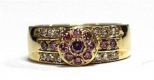 An 18ct Yellow Gold Pink and White Diamond Ring