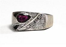 A 14ct White Gold Ruby and Diamond Ring