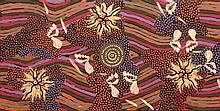Possum Clifford (c.1932-2002) Women's Dreaming at Napperby Lake (Foot Tracks & Berries) Acrylic on Linen