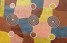 Billy Stockman Tjapaltjarri Yam Dreaming synthetic polymer paint on Belgian linen