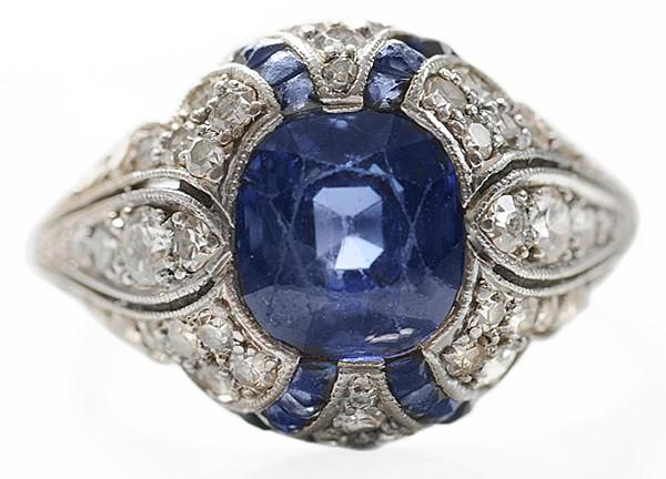 Vintage Platinum Sapphire, Diamond