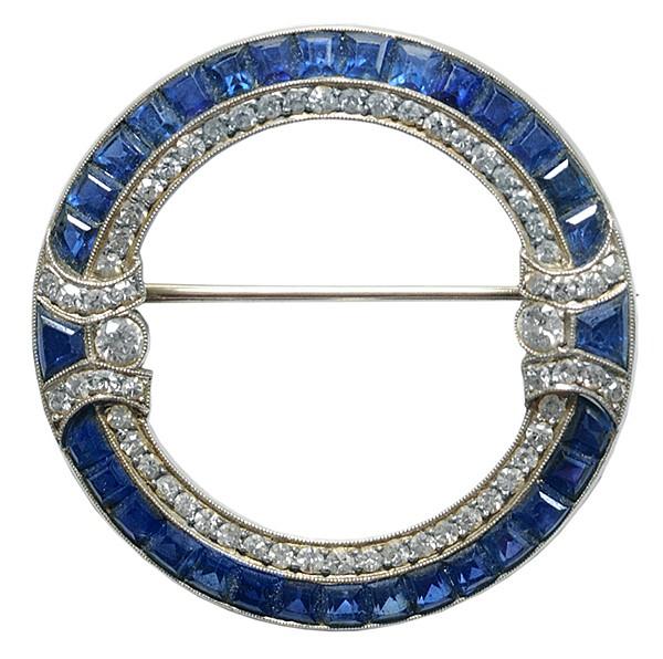 Platinum, Diamond, Sapphire Brooch
