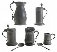 Thirteen Pieces Early Pewter
