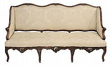 Louis XV Carved Walnut Damask-
