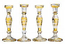 Set of Four Amber-to-Clear Cut Glass