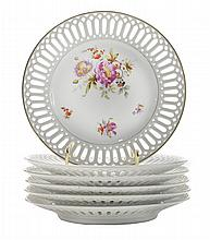 Six Russian Porcelain Reticulated