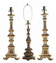 Pair Baroque Wooden Table Lamps,