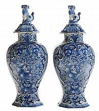 Pair Octagonal Delft Mantle Garnitures