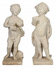 Two Marble Figural Garden Statues