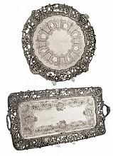 Two Ornate Silver-Plated Trays