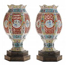 Pair Heavily Enameled [Famille Rose]