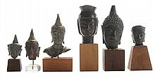 Six Antique Bronze Heads of Buddha