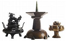 Two Bronze Figural Incense Burners,