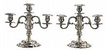 Pair Sterling Three-Cup Candelabra