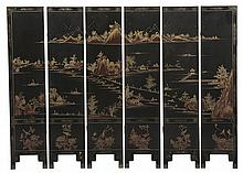 Chinese Lacquer Six-Panel Room