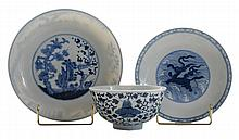 Three Blue and White Chinese