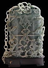 Finely Carved Green Jade Covered