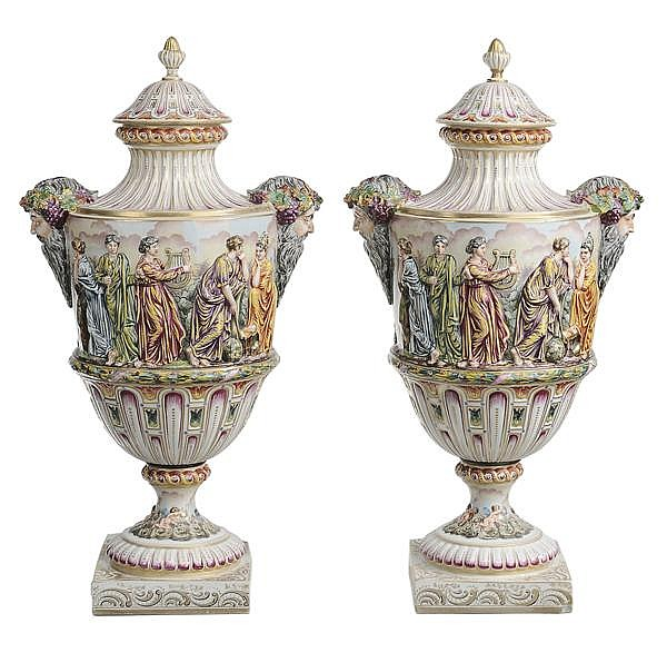 Pair Capodimonte Porcelain Lidded Urns